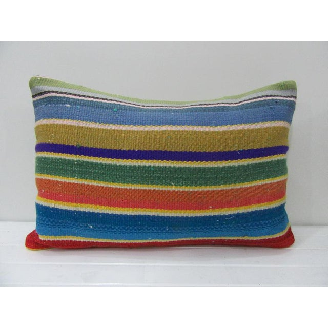 Colorful Striped Decorative Kilim Pillow For Sale - Image 4 of 4