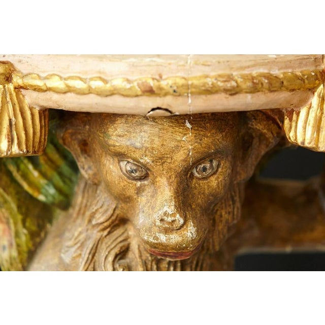 Wood Early 20th Century Carved Wood and Painted Plaster Side Table Showing a Monkey For Sale - Image 7 of 10