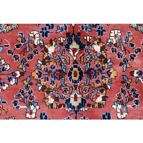 Handmade Floral Medallion Persian Sarouk Rug - 4.11' x 7.2' For Sale - Image 4 of 6
