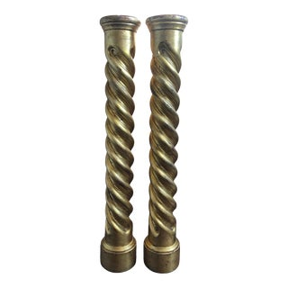 Gold Spindle Columns - a Pair For Sale