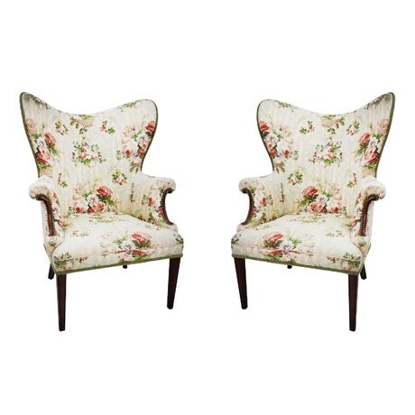 Floral Wingback Armchairs - A Pair - Image 1 of 4