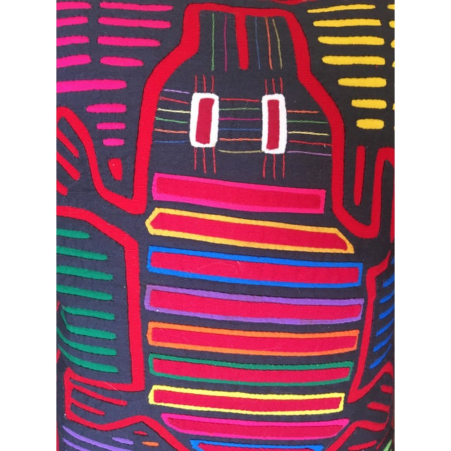 Contemporary Beth Ayer Design Multicolor Mola Cloth Pillow For Sale - Image 3 of 5