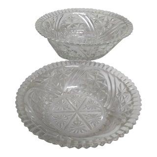Cut Glass Bowls - A Pair For Sale