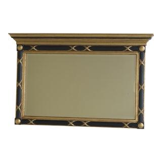 Labarge Black & Gold Regency Style Beveled Glass Mirror