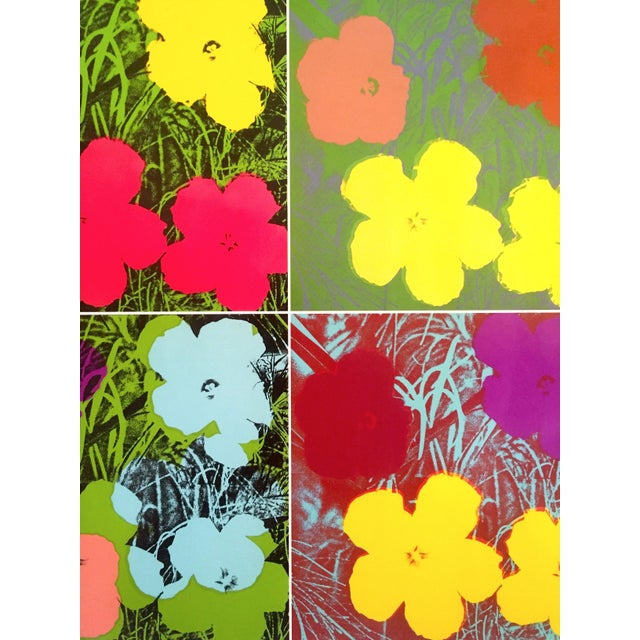 """Black Andy Warhol Foundation """" Myths of Pop """" Museo Thyssen Lithograph Print Pop Art Exhibition Poster """" Flowers """" 1970 For Sale - Image 8 of 13"""