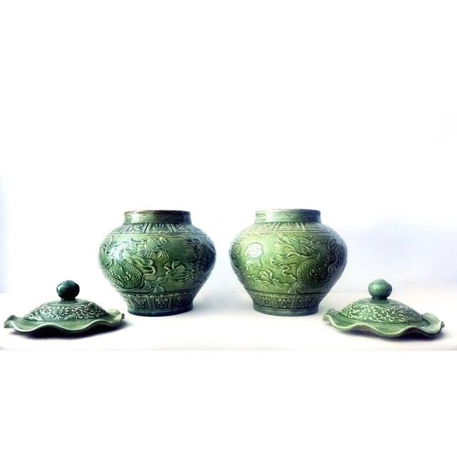 Dragons Celadon Lidded Ginger Jars - A Pair For Sale - Image 4 of 8