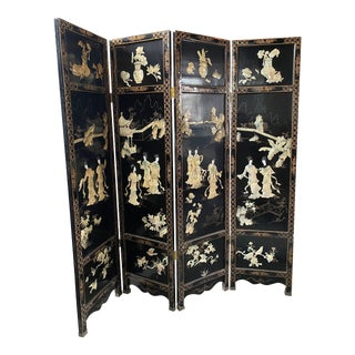 WWII Era Oriental Black Lacquer With Mother of Pearl Screen Divider For Sale