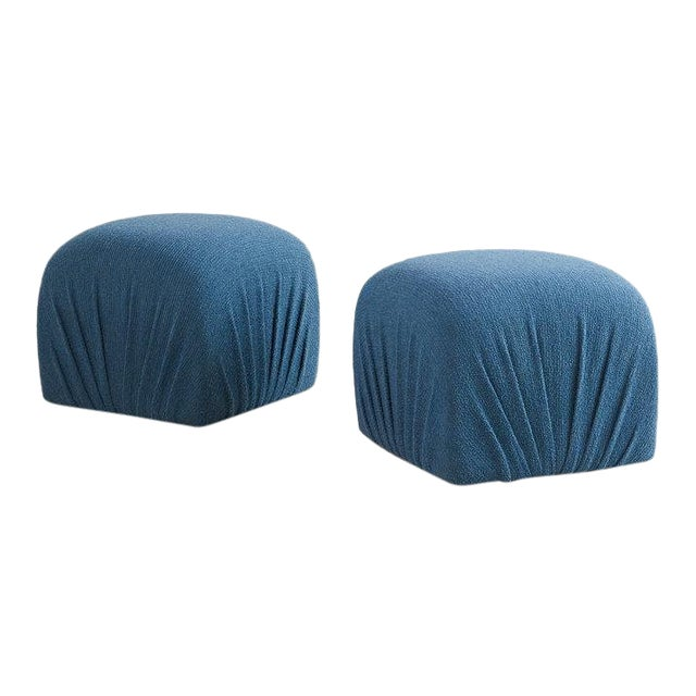 Pair of Karl Springer Style Poufs in Blue Wool For Sale