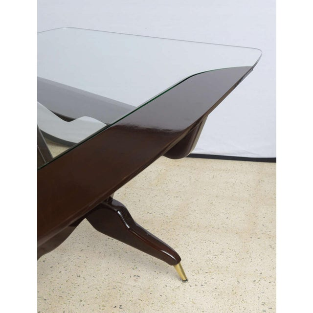 Mid-Century Modern Rare Italian Modern Dark Walnut and Brass Writing/Centre Table, Gian Casè For Sale - Image 3 of 8