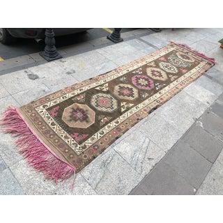 1960s Turkish Handwoven Wool Tribal Floor Runner Rug Preview