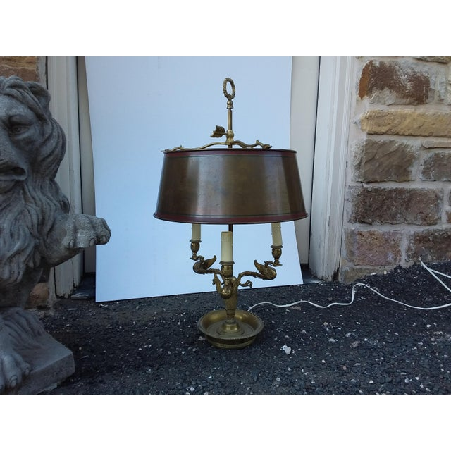 Antique French Bouillotte Lamp With Swan Heads For Sale - Image 4 of 9