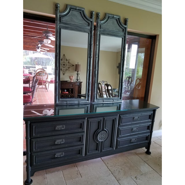 "Elegant Vintage Chinoiserie & Mirror Set 9/ Drawer faux Bamboo Credenza Dimensions: 76"" w x 30"" h x 19"" d Identification:..."