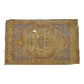 "Turkish Small Rug Hand Made Bath Mat Faded Mini Rug, Door Mat 1'10"" X 2'11"" For Sale"