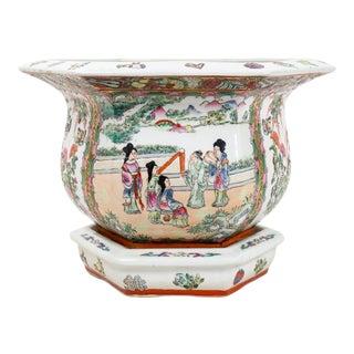 Vintage Mid Century Hexagonal Porcelain Planter For Sale