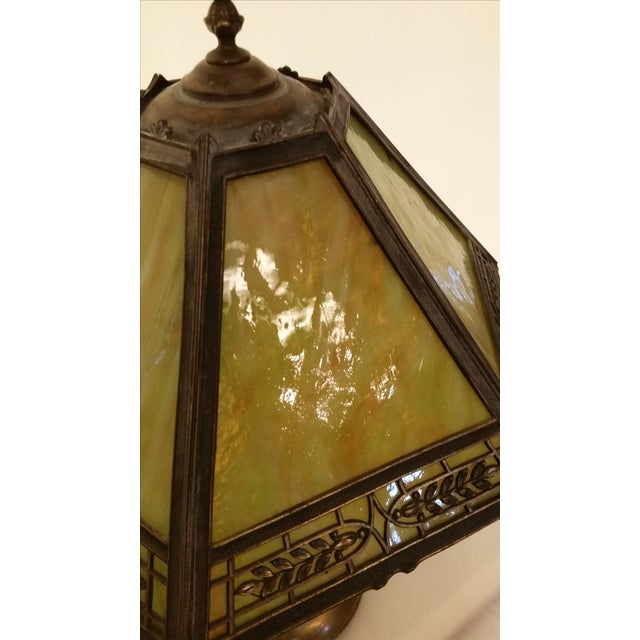 Gold Vintage Pilabrasgo 1920's Slag Glass Table Lamp For Sale - Image 8 of 8