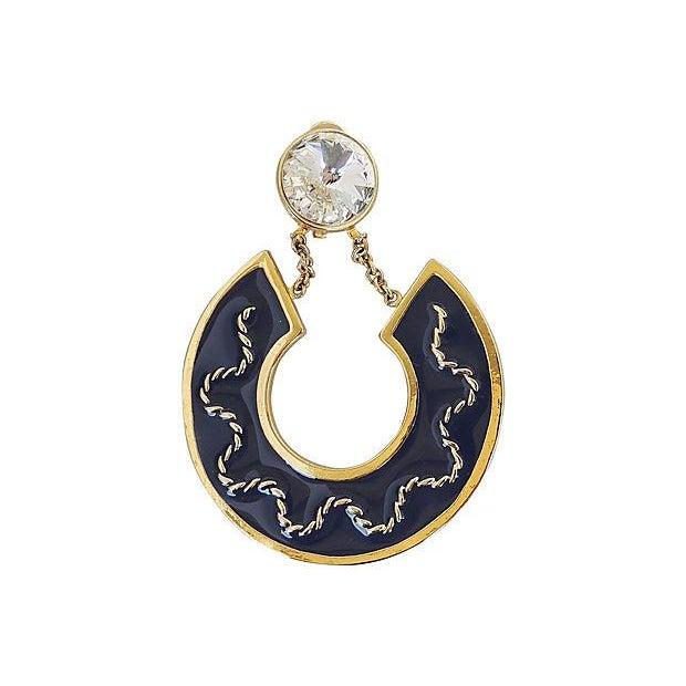 1980s Valentino Rivoli Blue Enamel Earrings For Sale In Philadelphia - Image 6 of 7