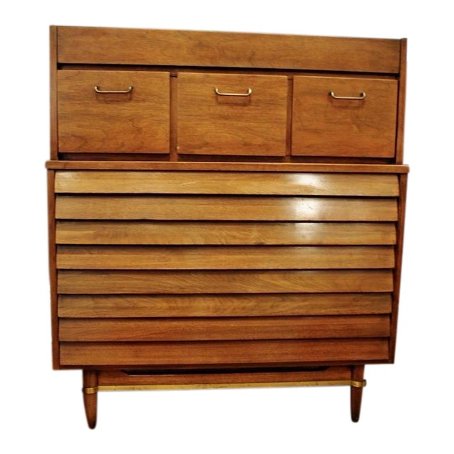 Mid Century American of Martinsville Walnut Tall Chest Dresser For Sale