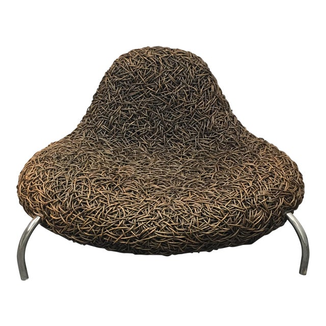Contemporary Woven Wicker Chair - Image 1 of 5