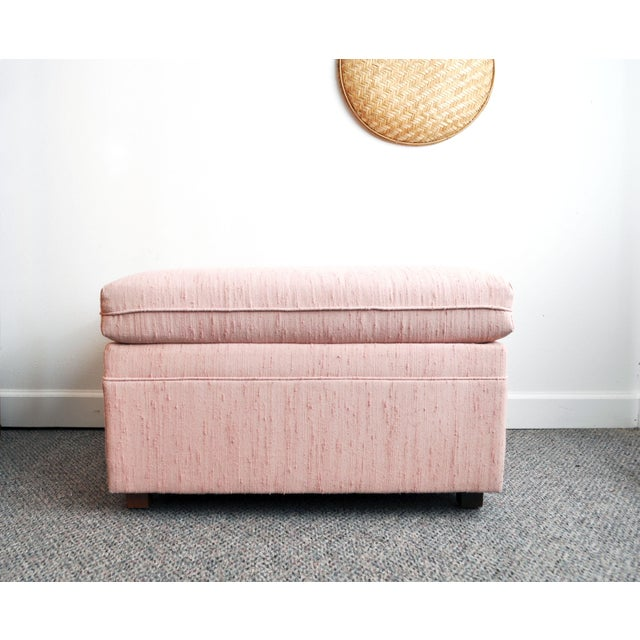 Blush Pink Upholstered Ottoman For Sale - Image 4 of 9