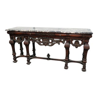 Leonardo Co. Carved Marble Top Sideboard For Sale