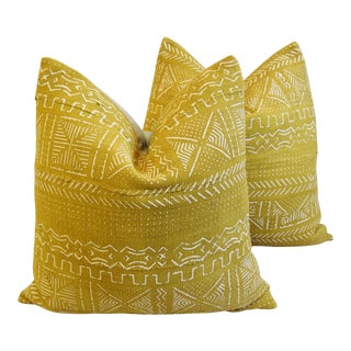 "Gold & Cream Mali Tribal Feather/Down Pillows 22"" Square - Pair For Sale"