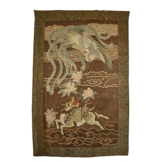 Japanese Large Meiji Period Silk Embroidery Tapestry For Sale
