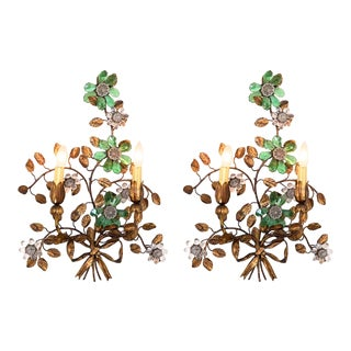 Mid Century French Maison Bagues Brass and Crystal Sconces - a Pair For Sale