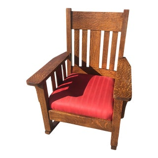 Arts & Crafts Rocking Chair Quartersawn Oak For Sale