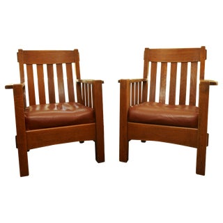 Pair Harden Mission Arts and Crafts Armchairs, Circa 1907 For Sale