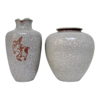 1950s Karlsruhe Majolica Vases, Set of 2 For Sale
