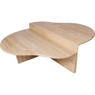 Italian Biomorphic Shape Travertine 2 Pc. Coffee Table For Sale