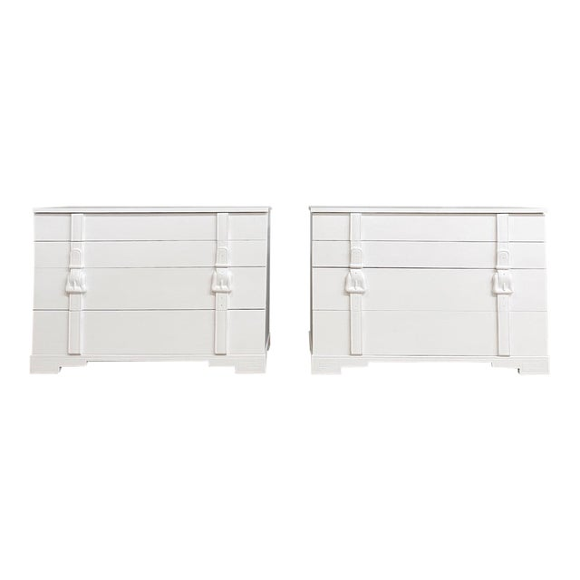 Modern White Painted Chests of Drawers - a Pair For Sale