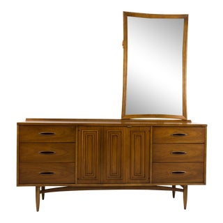 Mid 20th Century Broyhill Sculptra Lowboy Dresser With Mirror - a Pair