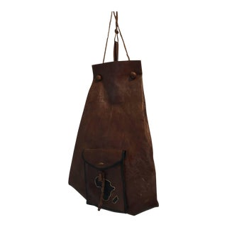 African Vintage Tuareg Leather Bag With Africa Map For Sale