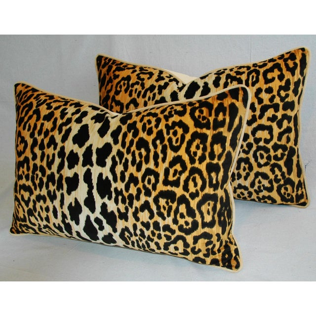 "Early 21st Century Hollywood Glam Leopard Spot Safari Velvet Pillows 26"" X 18"" - Pair For Sale - Image 5 of 14"