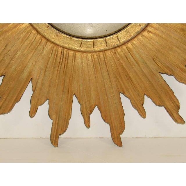 Wood Spanish Gilt Wood Convex Sunburst Mirror For Sale - Image 7 of 9