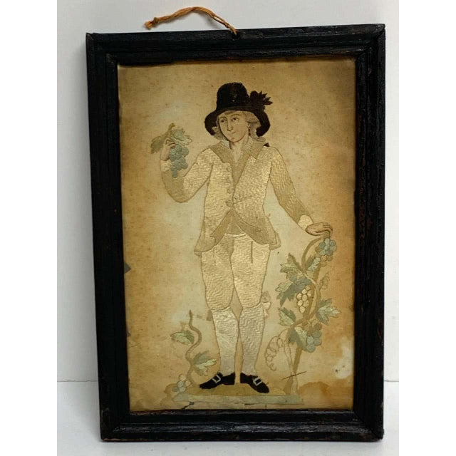 Early 20th Century Framed Two Sided English Silk Embroideries of Regency Twins For Sale - Image 4 of 8