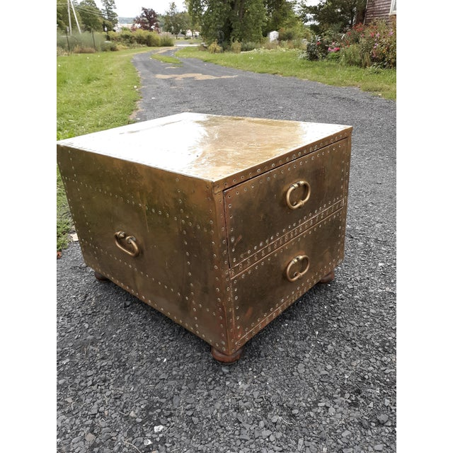 This is a fine quality brass chest made by Sarreid of Spain. The chest has great patina with no pitting or corrosion. It...