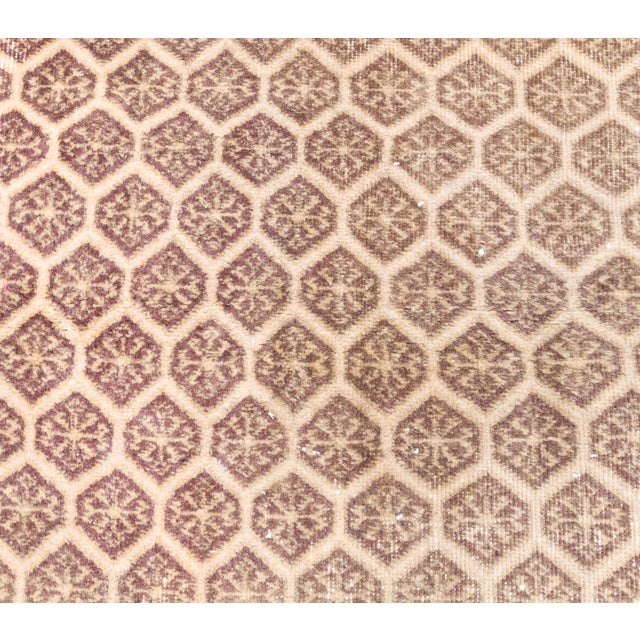 1960s 1960s Honeycomb Neutral Ivory Turkish Hand-Knotted Runner For Sale - Image 5 of 10