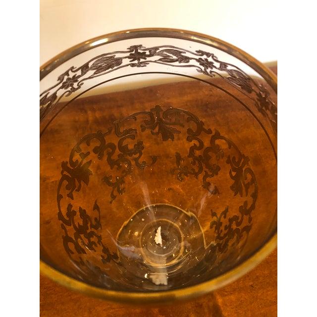 Glass Vintage Gold Leaf Decorated Glass Vase For Sale - Image 7 of 9