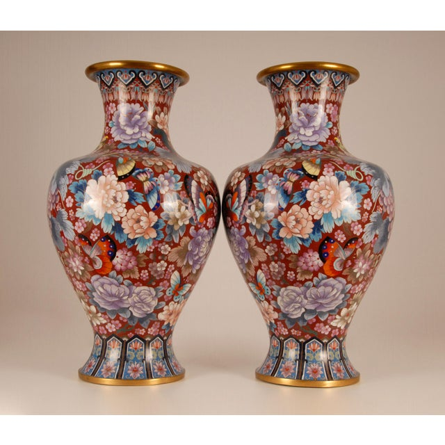 1930s Large Chinese Cloisonne Enamel Gilt Bronze Hand Crafted Baluster Vases - a Pair For Sale - Image 4 of 11