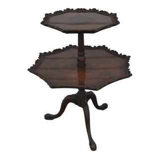 1940 Chippendale Style Mahogany Tiered Table For Sale