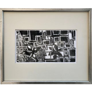 Mid Century Modern Vintage Abstract Wood Block Print For Sale