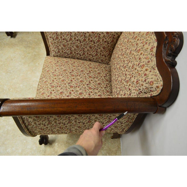Brown Antique Mahogany 3pc Parlor Set : Settee , Arm Chair , Chair For Sale - Image 8 of 11