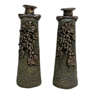 1980s Sterling Shabbat Candlesticks by Domar Clay - a Pair For Sale