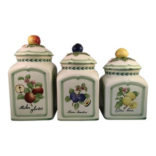 Villeroy and Boch French Garden Porcelain Kitchen Canisters - Set of 3 For Sale