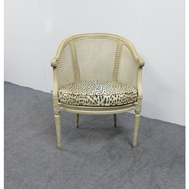 Early 20th Century Louis XVI Cream Caned Leopard Side Chair For Sale - Image 5 of 5