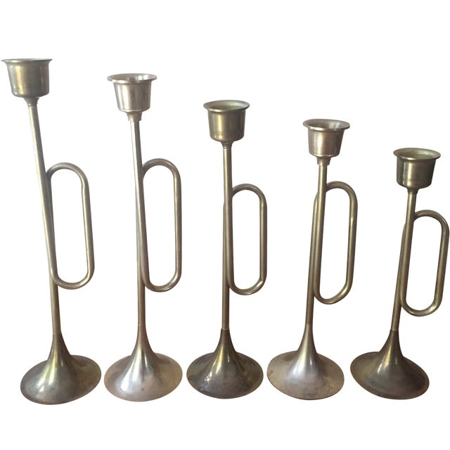 Brass Plated Bugle Candleholders - Set of 5 For Sale