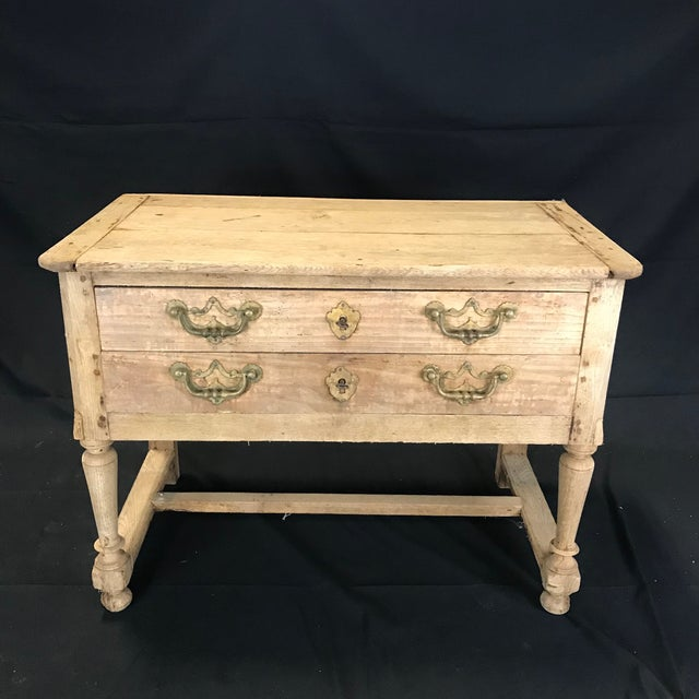 French French Rustic Naturally Distressed Two Drawer Console Table Commode For Sale - Image 3 of 12