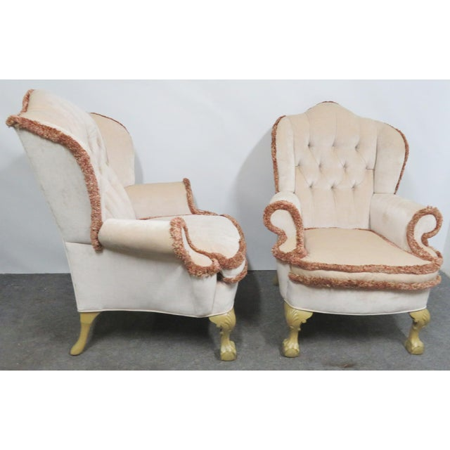 Chippendale Chippendale Style Tufted Wing Chairs- a Pair For Sale - Image 3 of 6